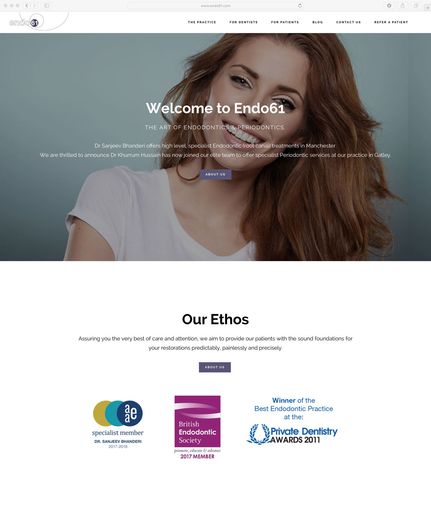 Endo61 website design by Ever Increasing Circles