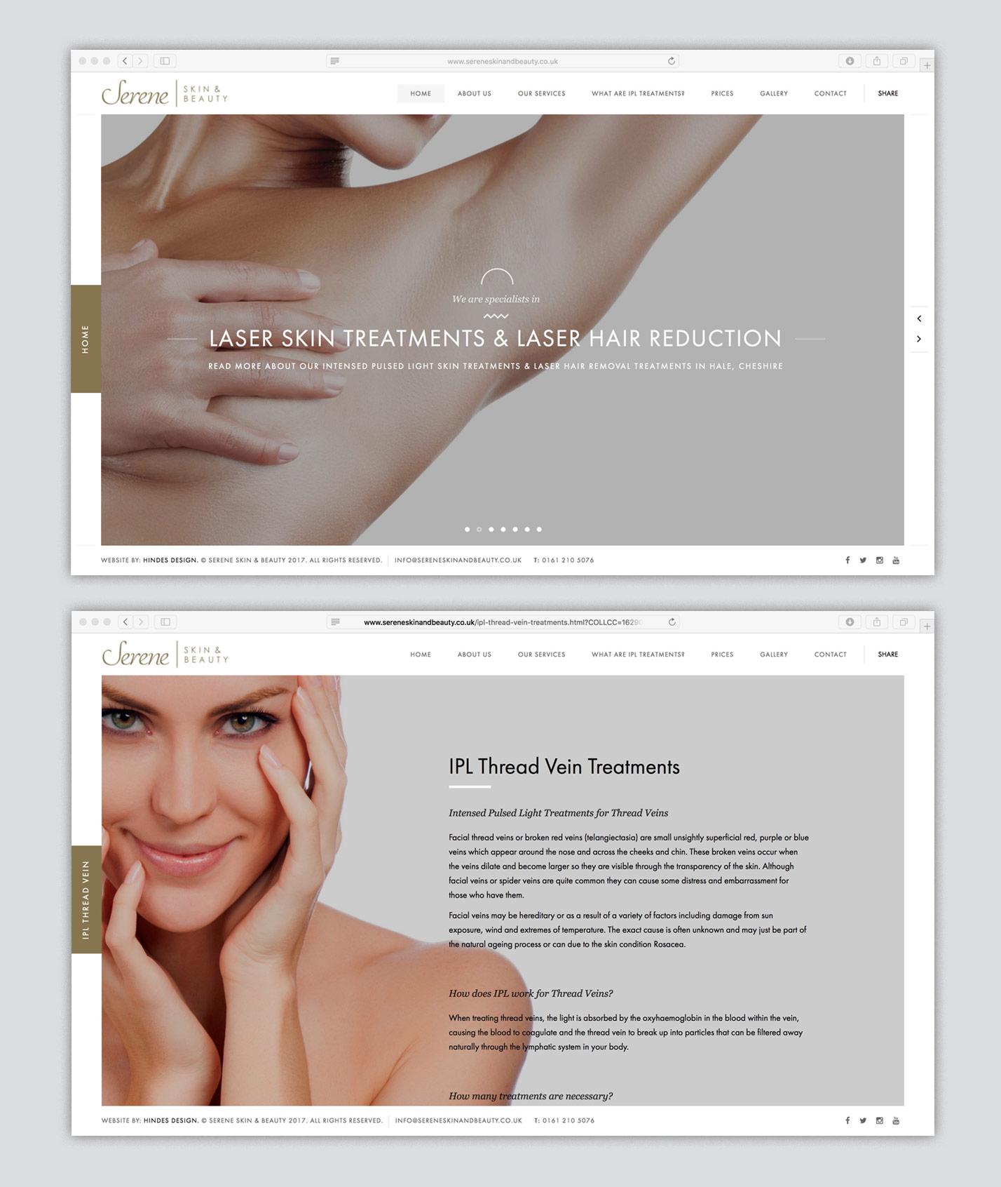 Website design for Serene Skin & Beauty